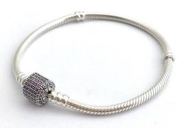 "Pandora Signature Clasp, Fancy Purple CZ Bracelet 590723CFP-17, 6.7"" New Retired - $67.44"