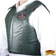 Equestrian Horse Riding Vest Safety Protective Hilason Leather Green U-D-VX - $148.95