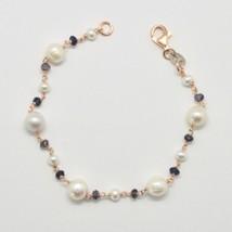 Silber Armband 925 mit Perlen Weiß von Wasser Dolce und Iolite Made in I... - $96.21