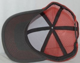OC Sports Adjustable Snapback Style Mesh Back Red Charcoal Baseball Cap image 5