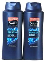 2 Bottles Suave 28 Oz Men Refresh Hydrating Body Wash Works Hard Smells ... - $21.99
