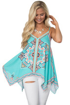 891fa85b103 Cali Chic Juniors  39  Tops Celebrity Bluish Tribal Print Summer Top HOT  ITEM -