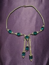 Vintage Turquoise Crystal and Rhinestone Silver Tone Necklace - $74.25