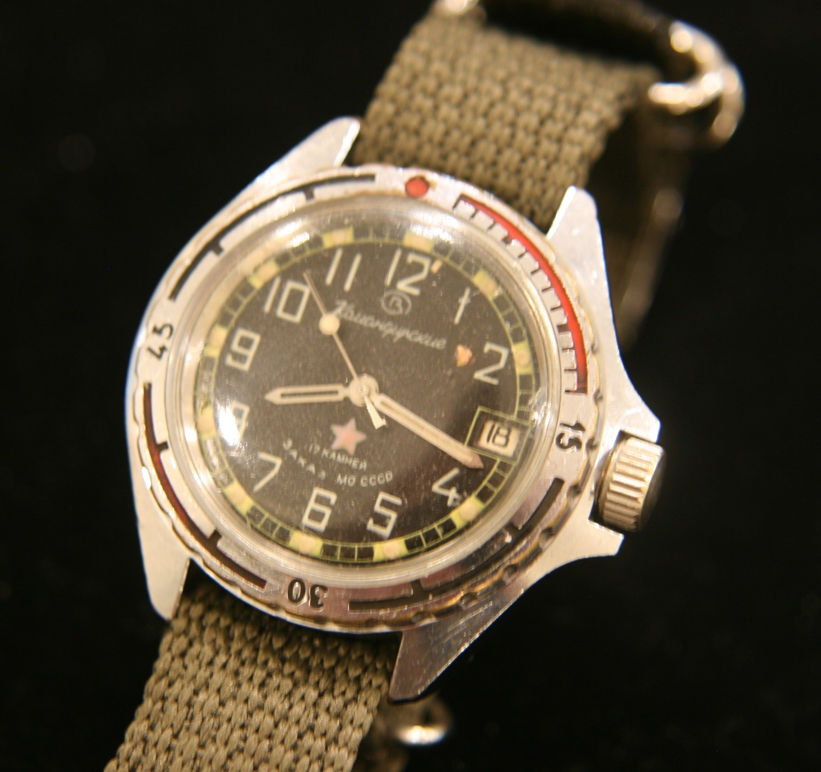 Rare vintage Soviet Vostok military commander 17 jewel military steel wristwatch