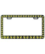 BLACK PAW PRINTS CRITTER DOG PET CAT YELLOW License Plate Frame - £4.31 GBP