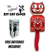 """SCARLET RED LADY KIT CAT CLOCK 15.5"""" Free Battery MADE IN USA New Kit-Ca... - $59.99"""