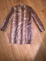 SELENE Sport  Brown Animal Print Long Sleeve Trench Coat Size 10Reptile ... - $28.05