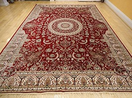 Stunning Silk Persian Area Rugs Traditional 7x10 Red Rugs Dining Room Ar... - $127.51