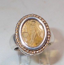 Estate Intaglio Sterling Silver 18K Gold Cupid Ring SZ 8 - $130.89
