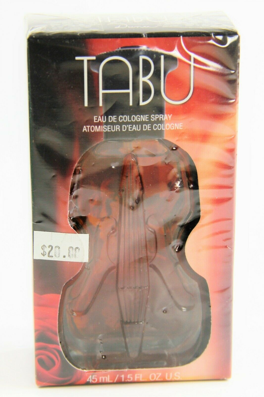SEALED VINTAGE TABU EAU DE COLOGNE SPRAY 1.5 FL OZ VIOLIN SHAPED BOTTLE DANA