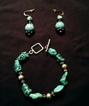 Vintage South Western Turquoise Nugget Bracelet and Earrings Set - $48.00