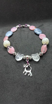 Rare silver kitty cat charm bracelet glass beads, pink white blue - $14.00