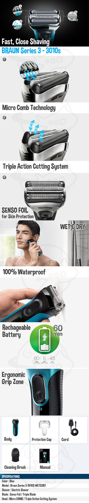 BRAUN BRAUN Series 3 - 3010s WetDry Electric Shaver Blue / Micro COMB / SENSO Fo