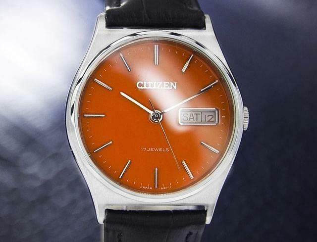Primary image for Men's Citizen 34mm Day Date Manual Wind Orange Dial, c.1970s Vintage J7081
