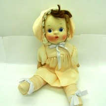 Vintage 1940s Pressed Cloth face Girl Doll Peach Pink Satin Hand Painted  - $74.22