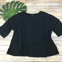 Long Tall Sally Dolman Sleeve Top Size L Black Layered Loose Fit Blouse Solid - $22.17