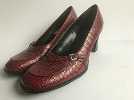 Franco Sarto Womens Cro Embossed Leather Slip On Mary Jane Heels Red Siz... - $41.80