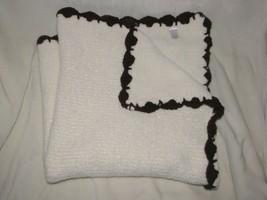 Angel Dear Cream/Ivory Brown Trim Chenille Scallop Scalloped Baby Blanket - $39.59