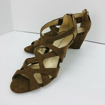 Bandolno Strappy Wedge Sandal Tan Brown Suede Like Zip Size 7 M Shoe  - $39.59
