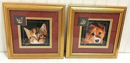 2002 USPS Cat & Dog Framed Stamp Print Set ASC Neuter Spay Pet Picture W... - $28.53
