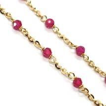 18K YELLOW GOLD BRACELET, RED FACETED CUBIC ZIRCONIA, ROLO CHAIN, 6.9 INCHES image 2