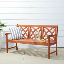 Vifah Outdoor Bench 3-Person In-Ground Install Water Resistant Wood Orange - $166.67