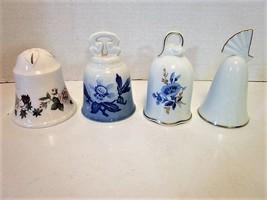Danbury Mint Set of 4 Bells, 3 Floral, 1 Plain w/Gold Trim, Made of Bone China - $9.89