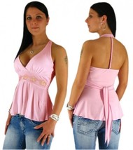 sexy halter neck waterfall top with Decor - Rings from Tessa England Fashion S M - $14.55