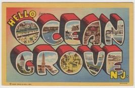 Large Letter Linen OCEAN GROVE, NEW JERSEY NJ c1940s Curteich Postcard - $3.99