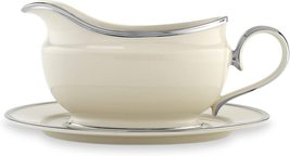 Lenox Solitaire Platinum Gravy Boat & Stand Sauce Ivory Bone China USA NEW - $145.00