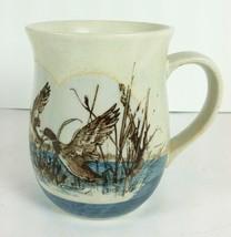 Vintage Otagiri Curvy Flying Ducks in Marsh Coffee Mug Cup 2 Tone Textur... - $18.80