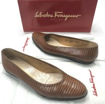 Vintage Salvatore Ferragamo Shoes size 8.5 Loafer Flats Brown 80's Era M... - $118.79