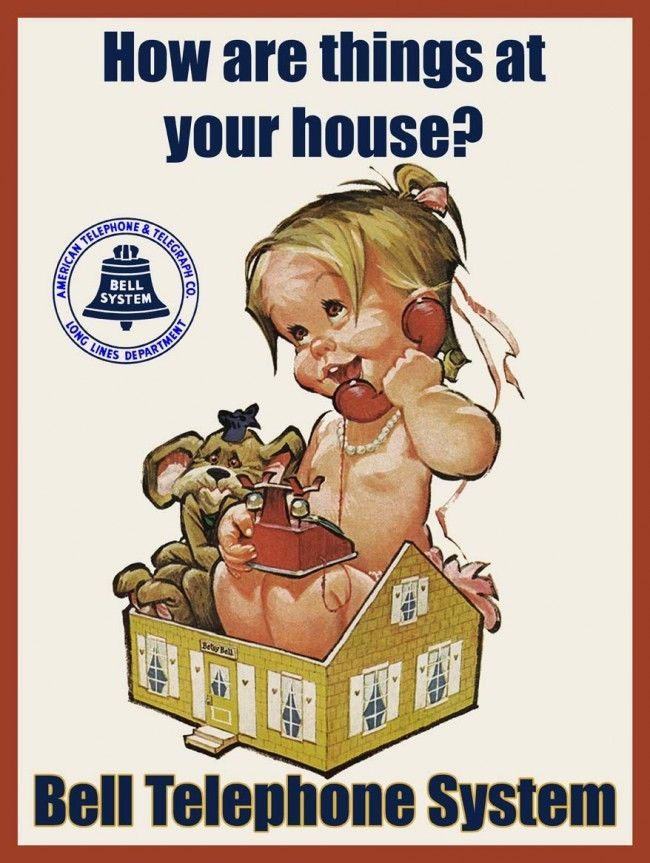Primary image for Bell Telephone How are Things at Your House Advertisement Little Girl Metal Sign
