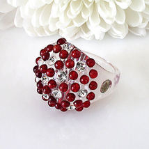 Clear Acrylic Domed Ring Red And Clear Swarovski Elements Crystal On Dome Size 8 image 3