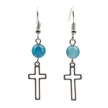 Women Girls Blue Agate Silver Hollowed Out Cross Dangle Drop Fashion Ear... - $5.16