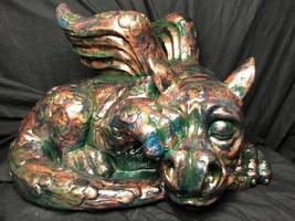 Antique Gothic Bronze Verdigris Style Heavy Stone Gargoyle Dragon Garden... - $321.72