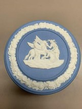 Vintage Wedgwood Round Jasperware Light Blue Pegasus Trinket Box Round - $34.64
