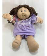 Vtg 1985 Coleco Cabbage Patch Kids Girl Doll Brown Hair w/Dress Outfit Tooth - $19.79