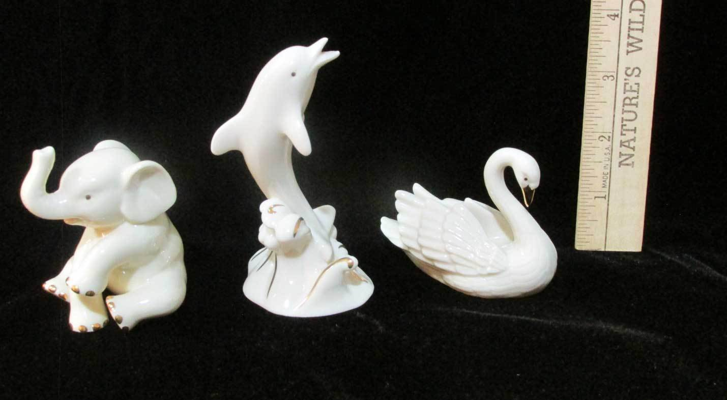 Lenox Animal Trio Swan Elephant Dolphin Figurines 24K Gold & Ivory Colored