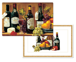"""4 Reversible Deluxe Non Clear Placemats 12"""" X 18"""", Wine & Grapes, 2 Sided - $18.80"""