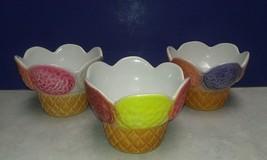 Set of 3 Vintage Ceramic Ice Cream Sundae Dishes Dessert Bowls Made in I... - $6.92