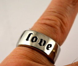SK2265 Ring Love Stainless Steel Wide Band - $15.00
