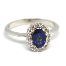 White Gold Ring 750 18K, Flower, Sapphire Oval 0.99, Diamonds, Italy Made image 1