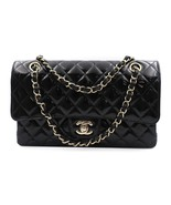 Chanel Classic Black Patent Leather Quilted Medium Double Flap Bag A01112 - $5,600.00