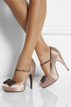 NEW LANVIN Satin Glitter-Bow T-Strap Pumps (Size 38) - MSRP $1,100.00! - $299.95