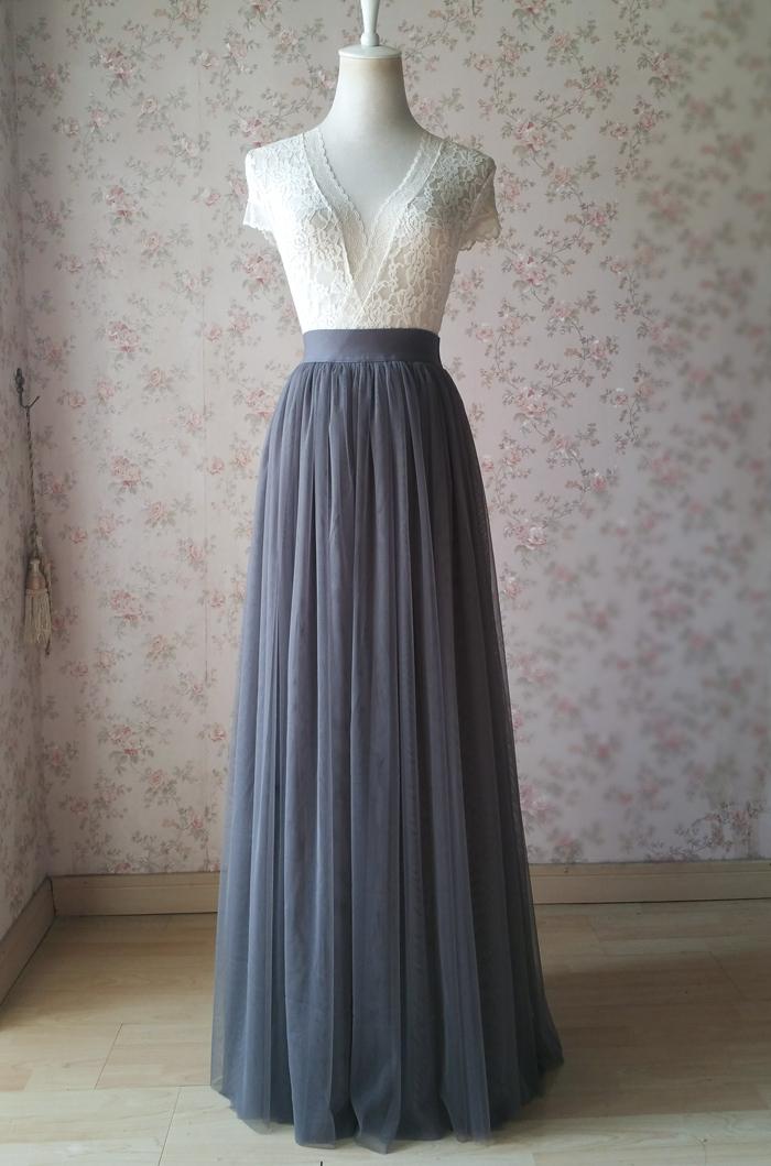 Gray maxi skirt tulle 03