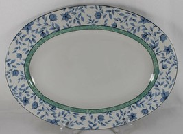 "Johnson Bros BLUE SAVANNAH Oval Platter 14.25"" Floral Leaves 1996 China - $21.76"