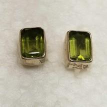 """Vintage Rectangle Peridot Stud Sterling Earrings - """"Pre Owned"""" R25 - $27.72"""