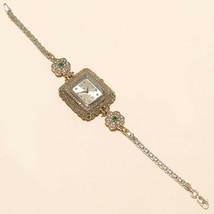 Real Emerald White Topaz Wrist Watch 925 Sterling Silver Women Wedding J... - $38.32