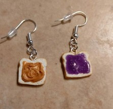 Cute Peanut Butter and Jelly Silver Wire Earrings Clay Charms Food Kids ... - $6.00